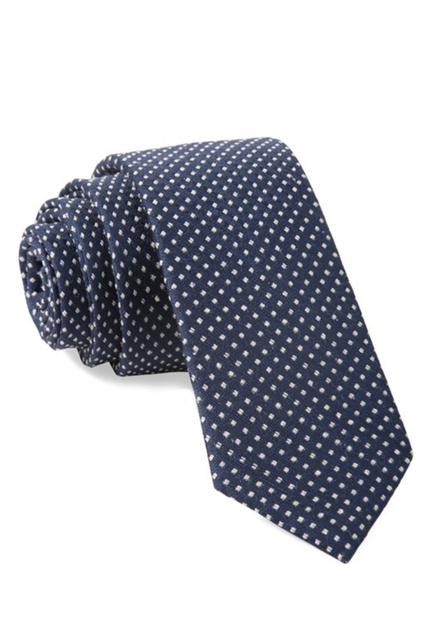 Green Wedding Shoes x The Tie Bar Groom Style Tie Chambray Polka Dot Navy Blue