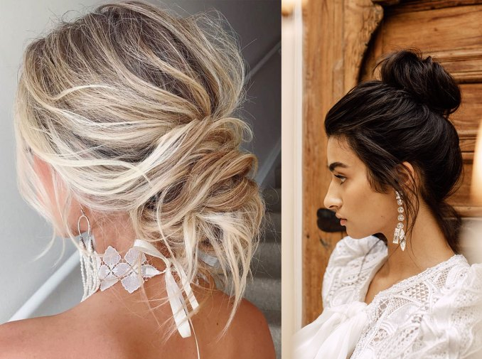 trending now: boho-chic messy bun wedding hairstyles - green