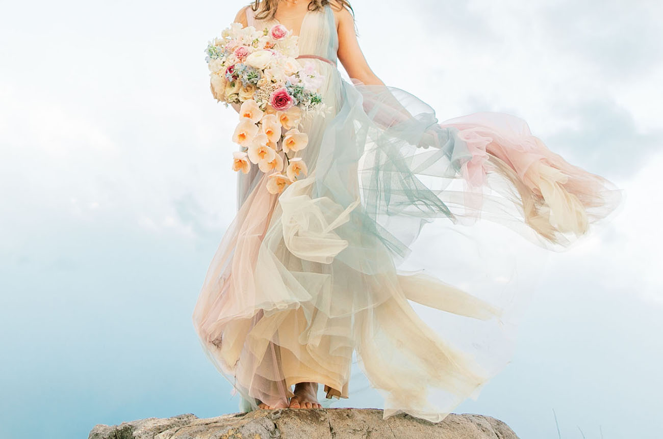 72e637c91 You ll Find Magic at the End of the Aisle in this Rainbow Tulle Wedding  Dress