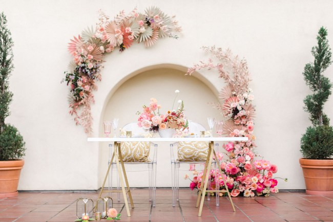 pink floral wall wedding reception