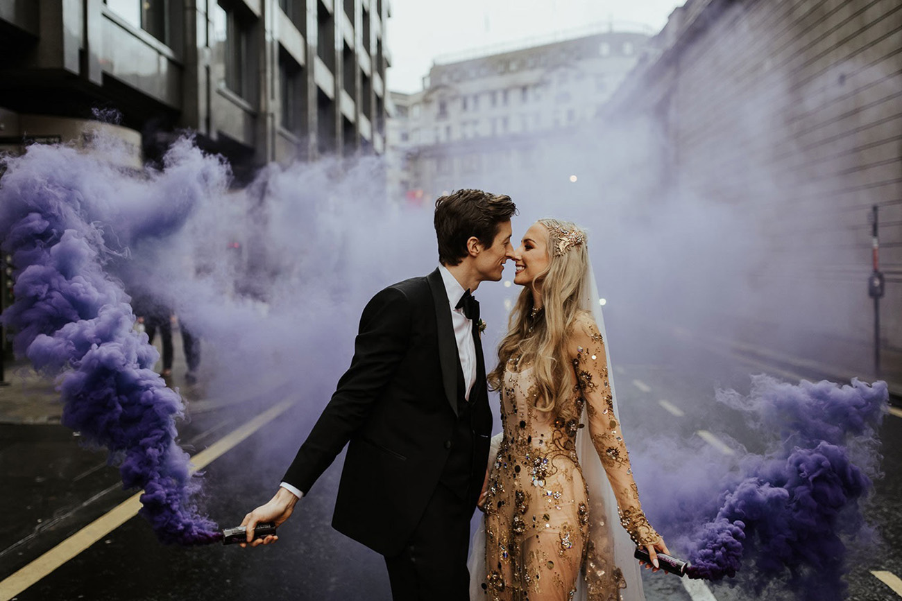 smoke bombs in the city