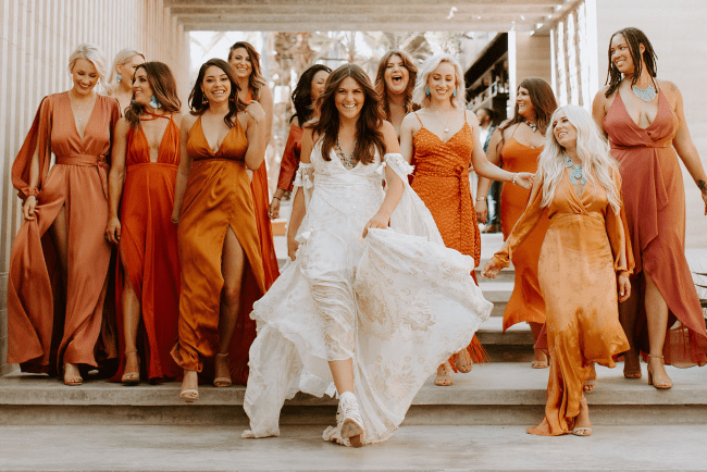 rust mismatched bridesmaids