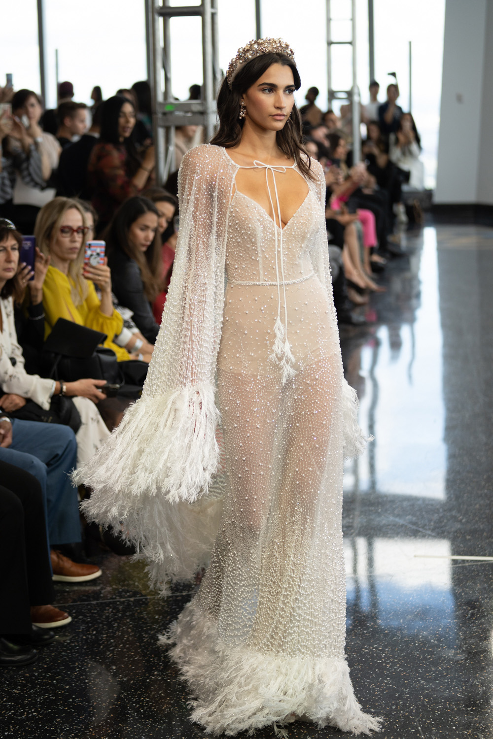 Berta Wedding Dress with Fringe and Cape