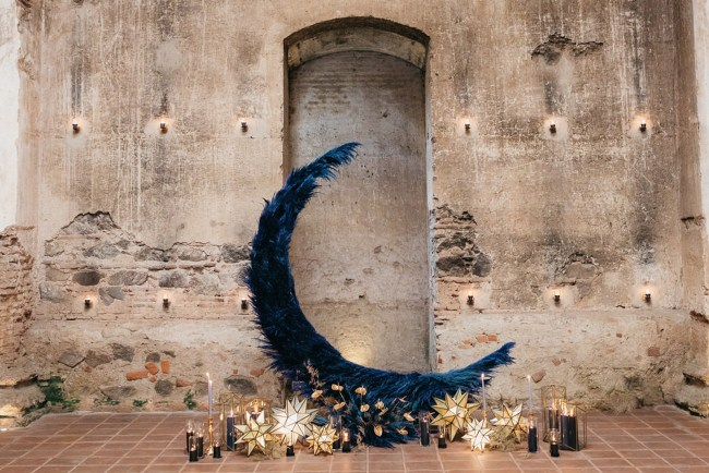 blue moon ceremony backdrop