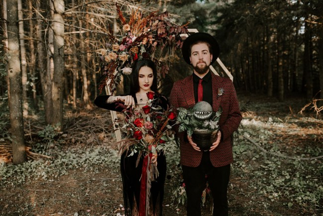 Halloween Morticia + Gomez Wedding Inspiration