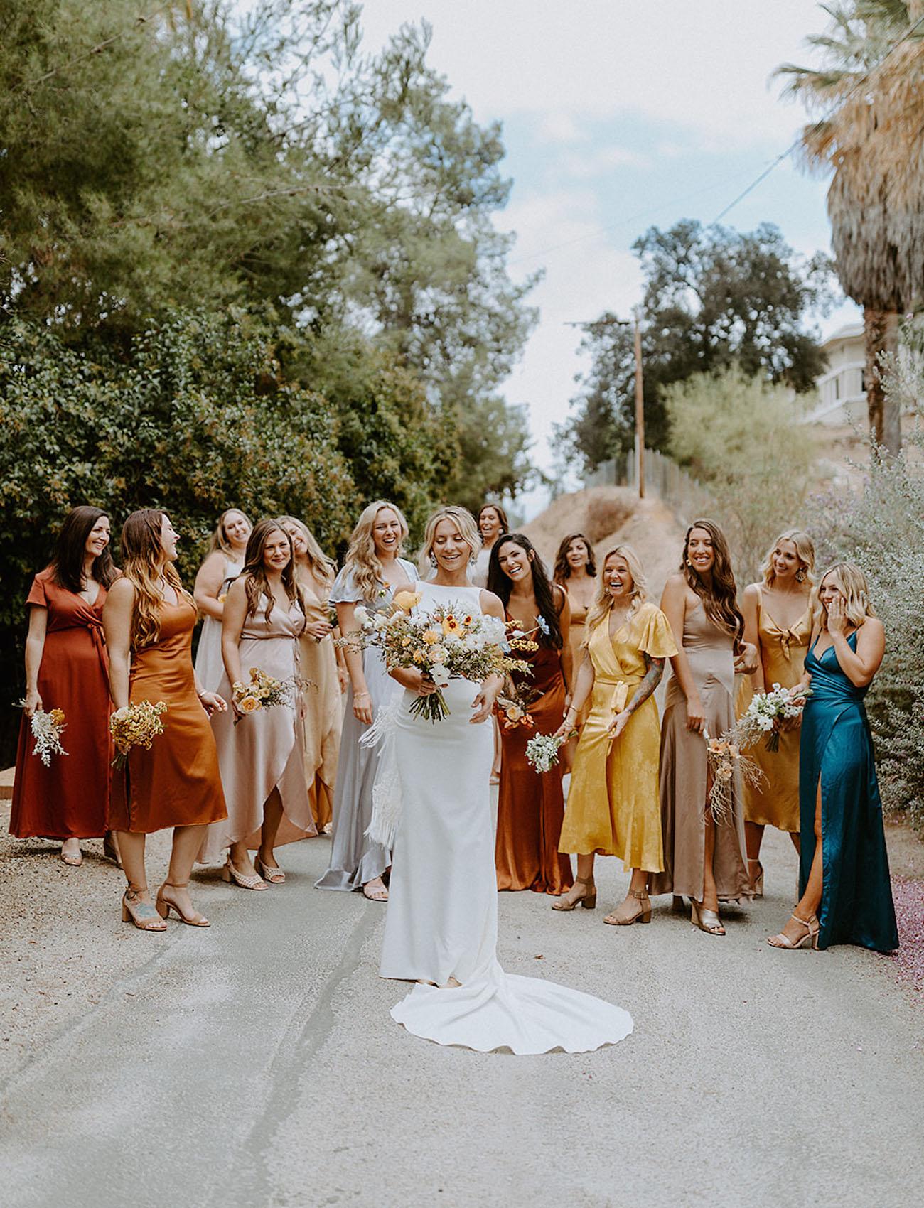 Fall bridesmaids mix and match colors