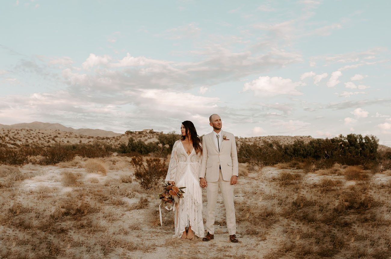 A 1970s Inspired Wedding in the Desert with a Killer Fringe Dress | Green Wedding Shoes