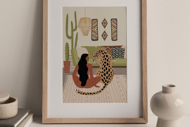 Girl and Cheetah Art Print by TheEverydayPrintCo on Etsy