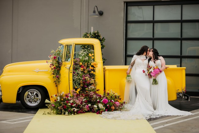 Colorful Drive Thru Wedding