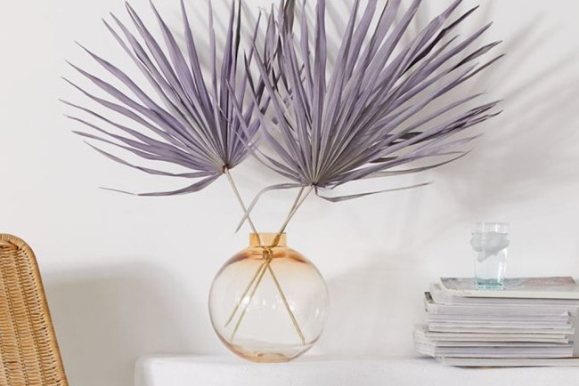 dried purple palm home decor