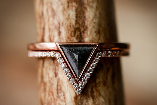 Black Triangle Etsy Engagement Ring