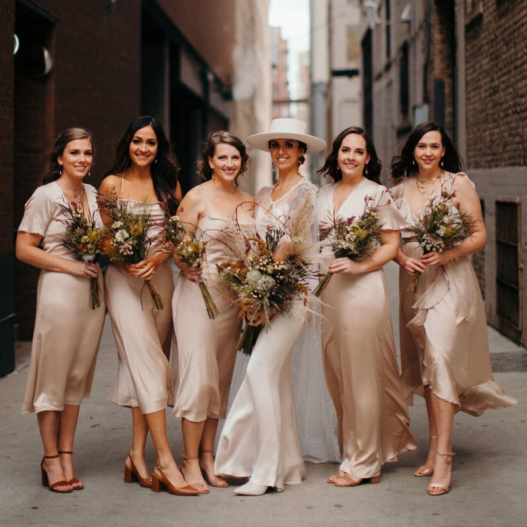 bridesmaids in silk dresses