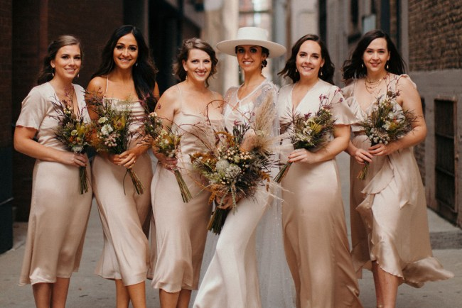 bridesmaids in silk dresses