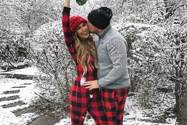 couple snow pajamas
