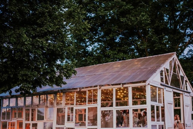 micro wedding with a greenhouse
