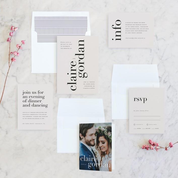 minted Loden minimal wedding invitation