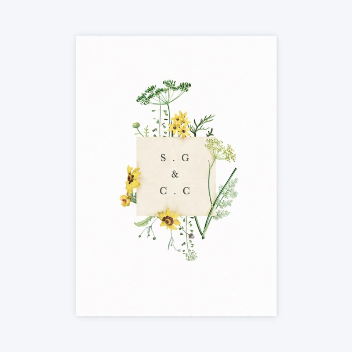 sunny wildflowers minimal floral wedding invitation