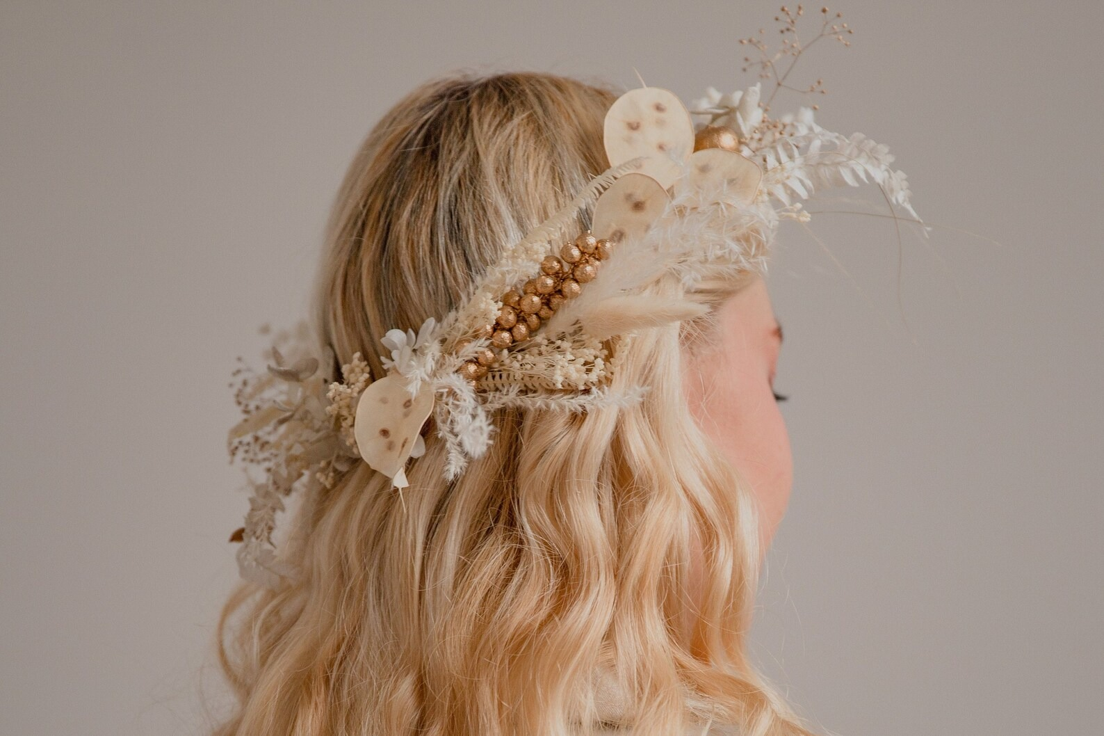 Golden Berries and Preserved Lunaria Wedding Crown