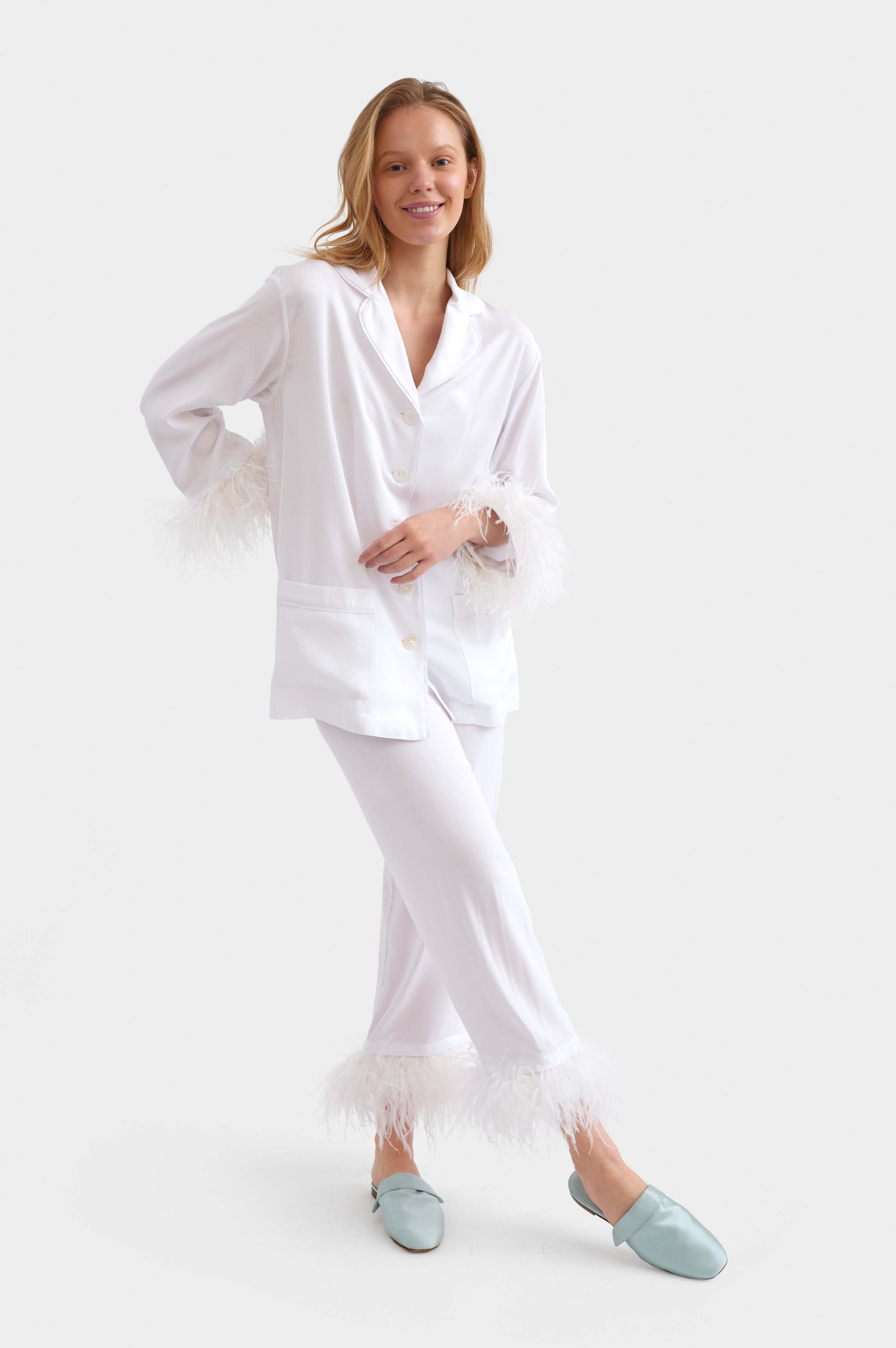 White Party Pajama Set with Feathers by Sleeper Best Bridal Shower Gifts