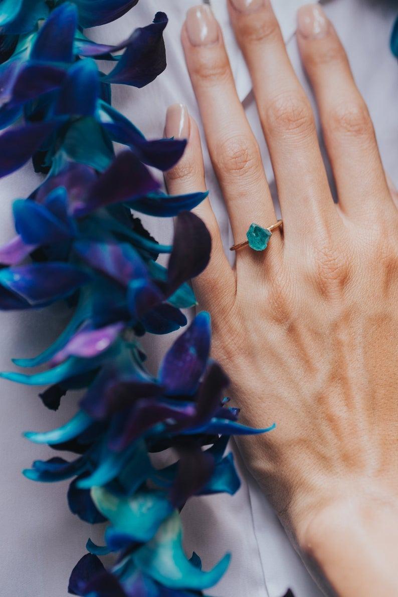 raw blue apatite non diamond engagement ring