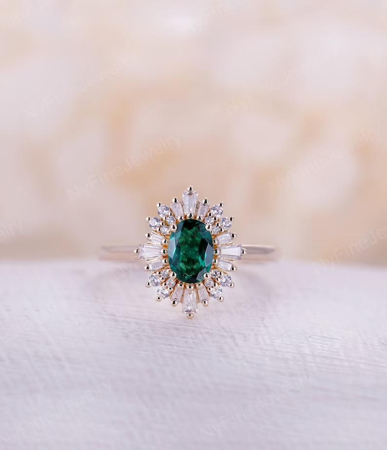Art Deco style sunburst vintage engagement ring