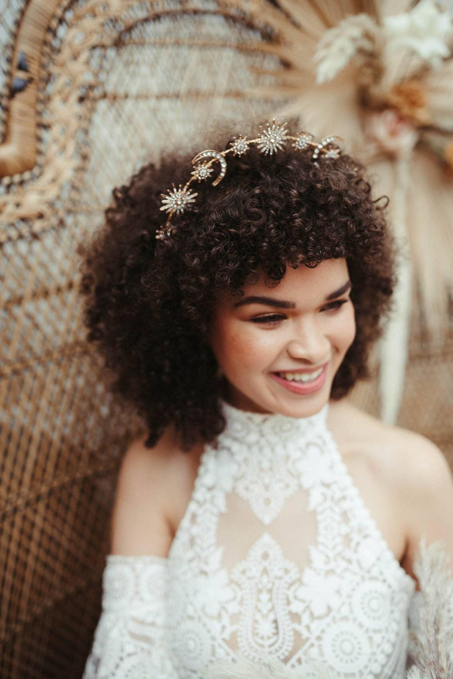 bridal celestial halo wedding crown