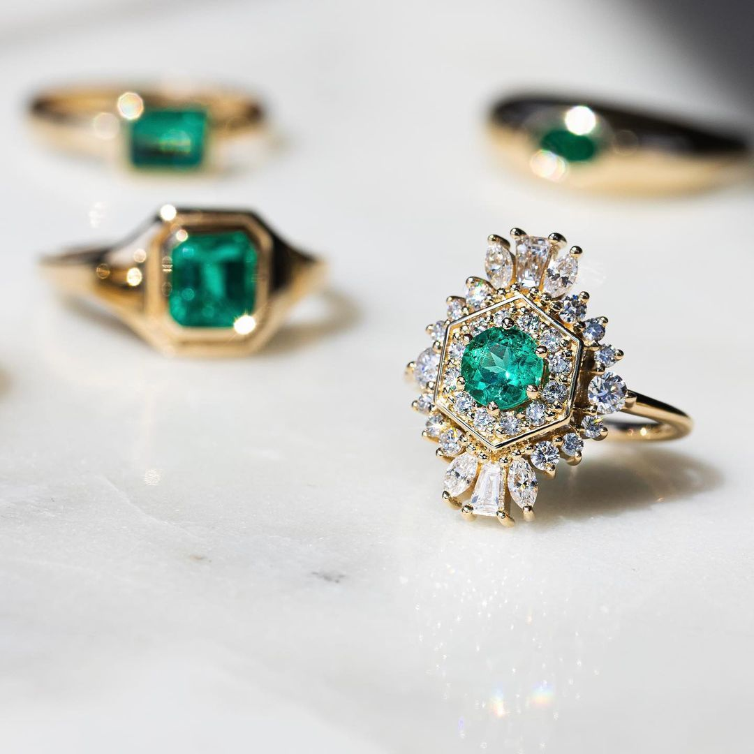 collection of boho emerald engagement rings