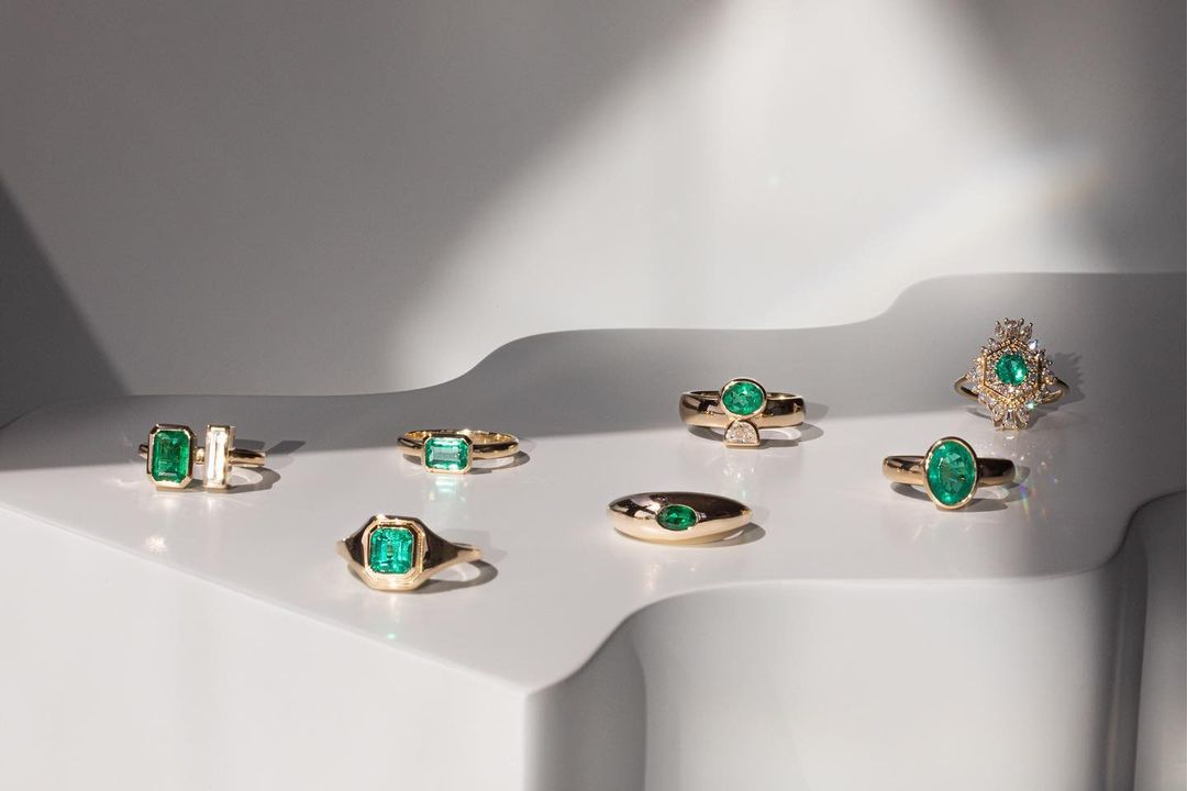 collection of emerald engagement rings