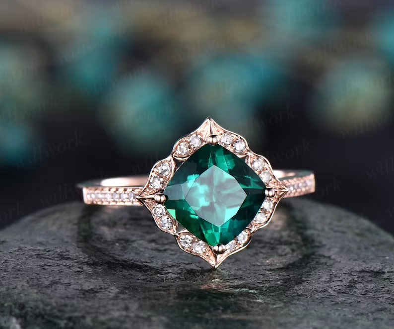 floral inspired emerald halo band
