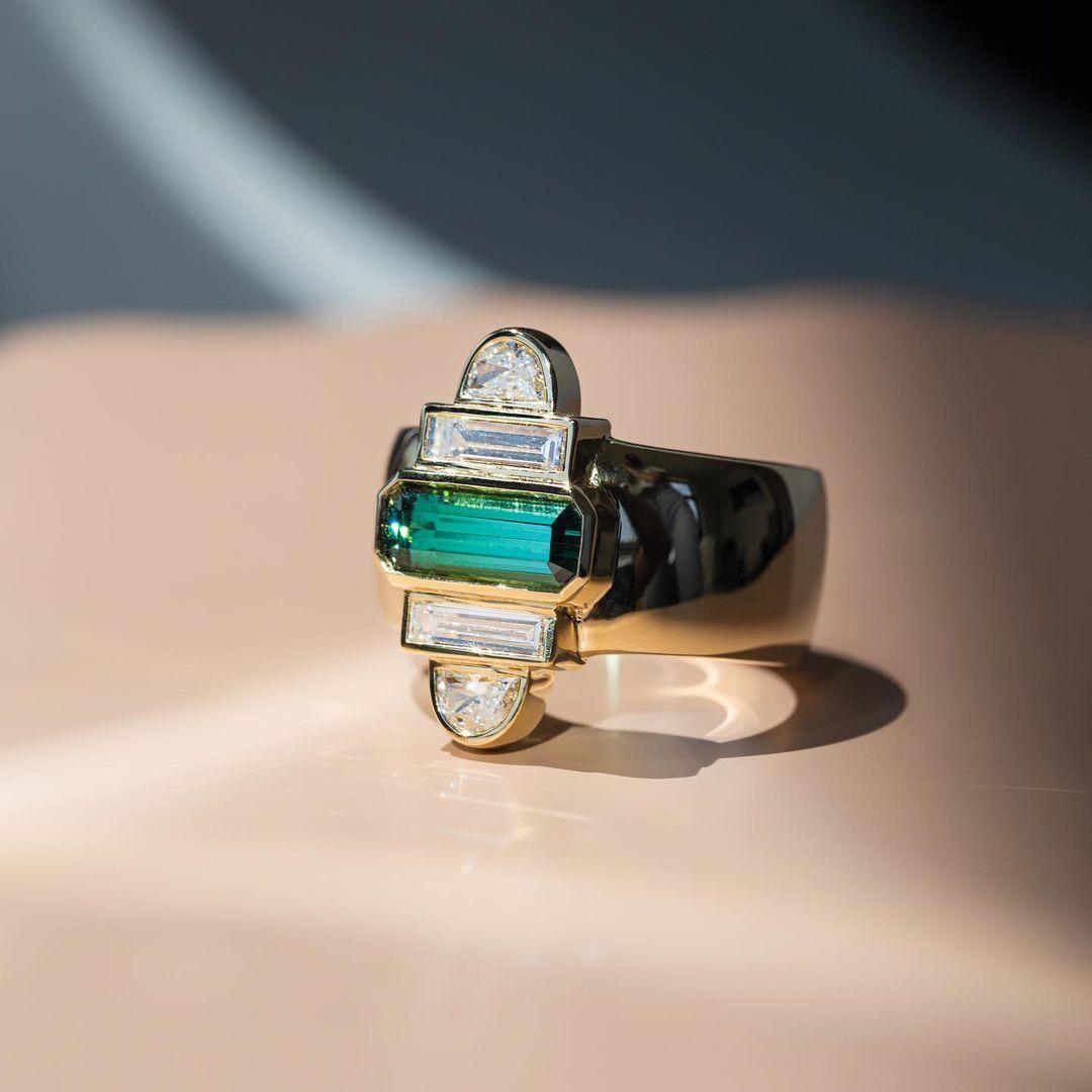 geometric diamond and emerald stacked band
