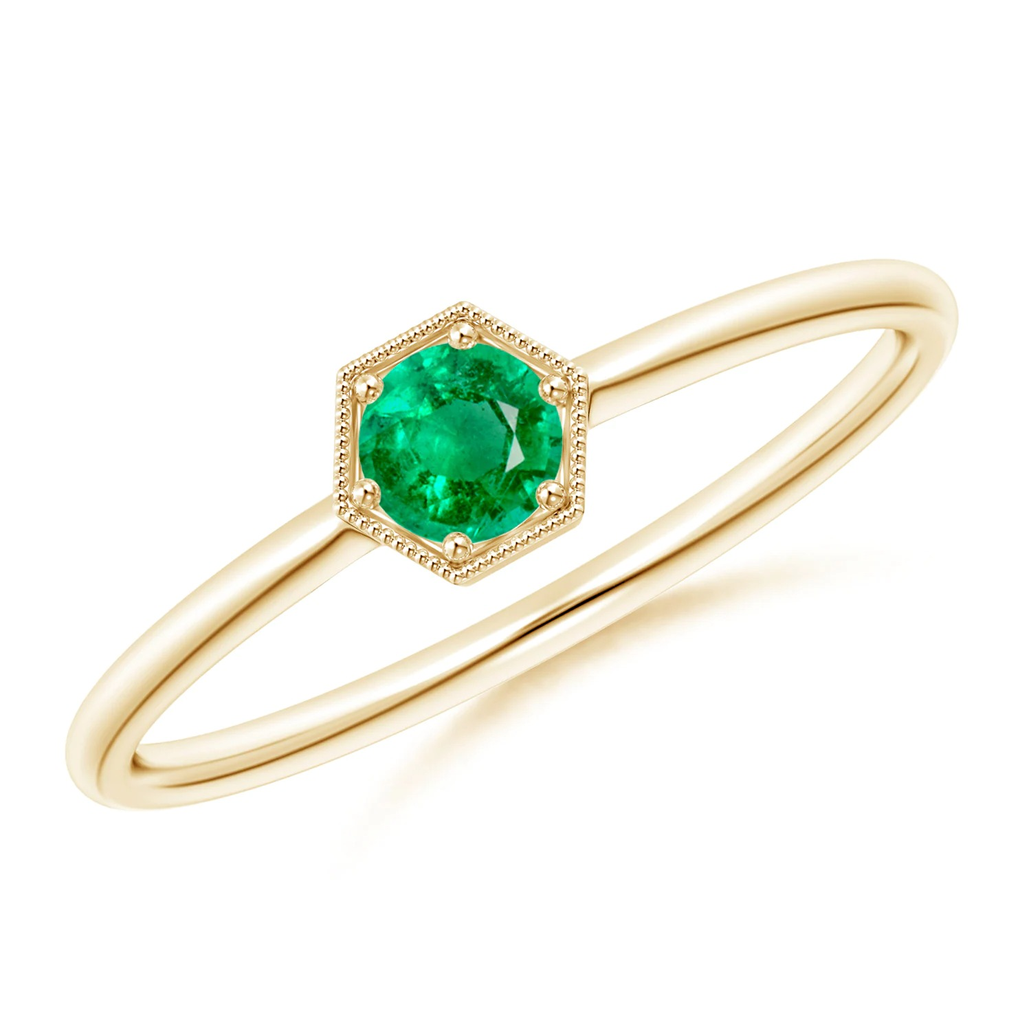 pave set hexagon solitaire emerald with gold band
