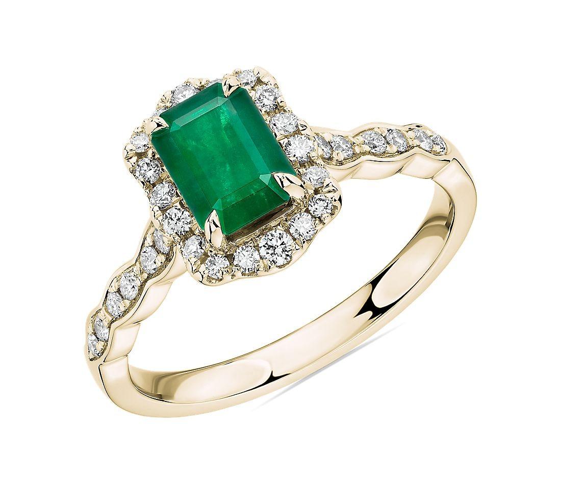 romantic diamond encased emerald cut emerald band