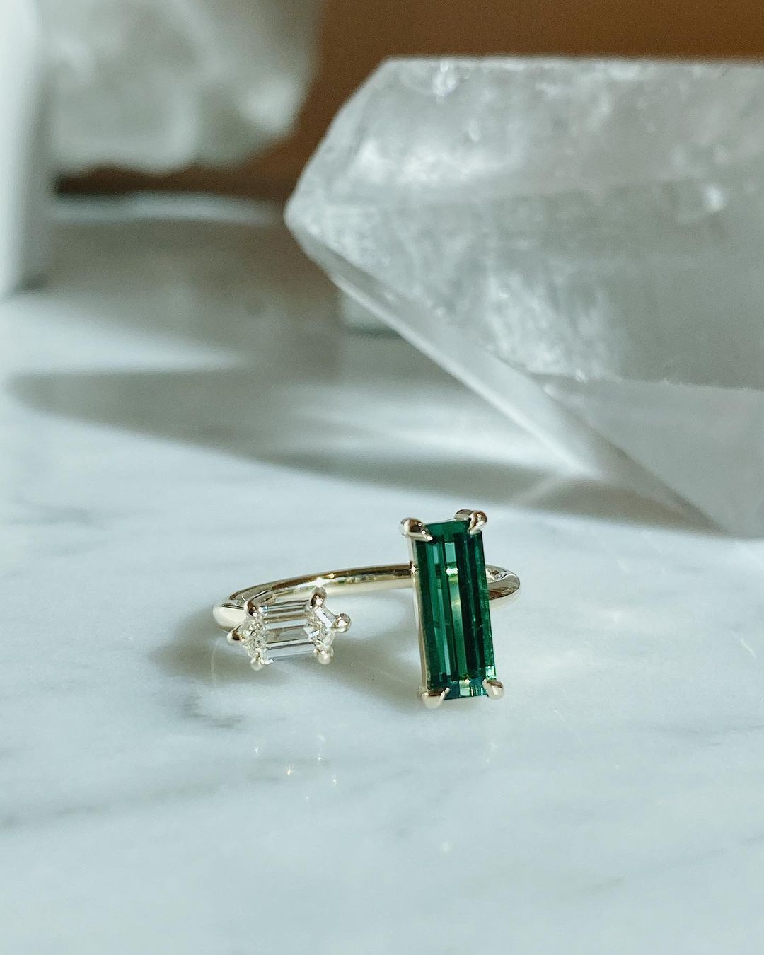 toi et moi emerald engagement ring from Marrow and Fine