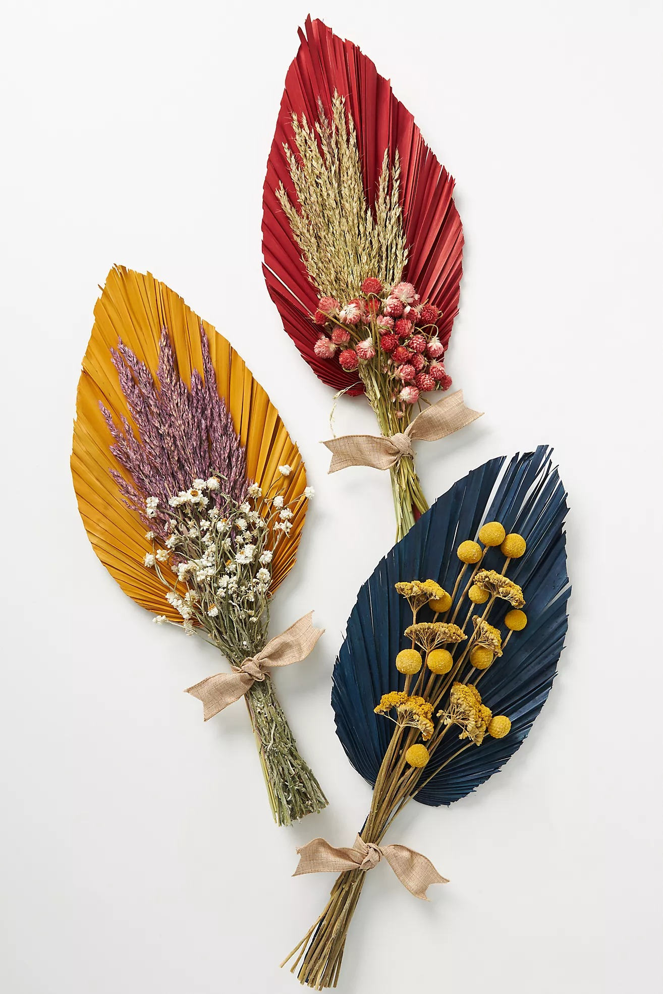 arrangement of dried palm flower bouquets from Anthropologie online