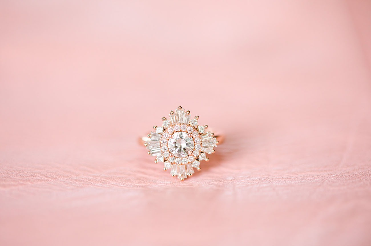 art deco sunburst style bohemian engagement ring