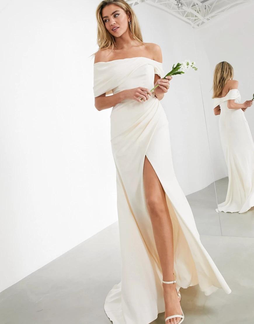 Asos off shoulder drape wrap wedding dresses you can buy online