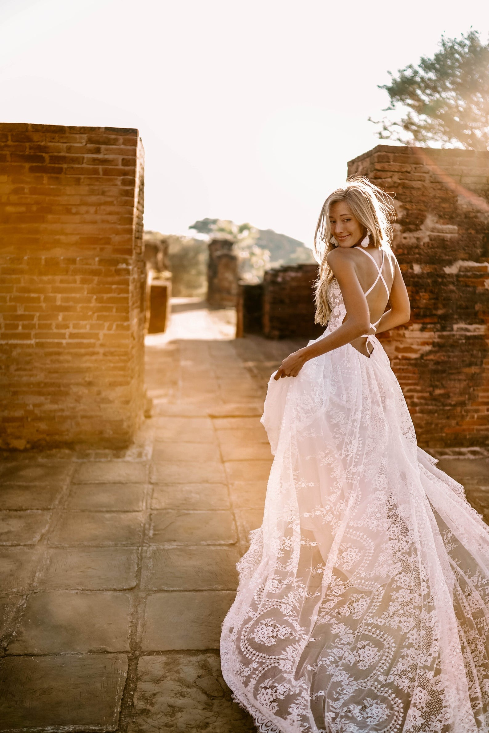 lace boho wedding dresses sold online by Flora and Lane on Etsy