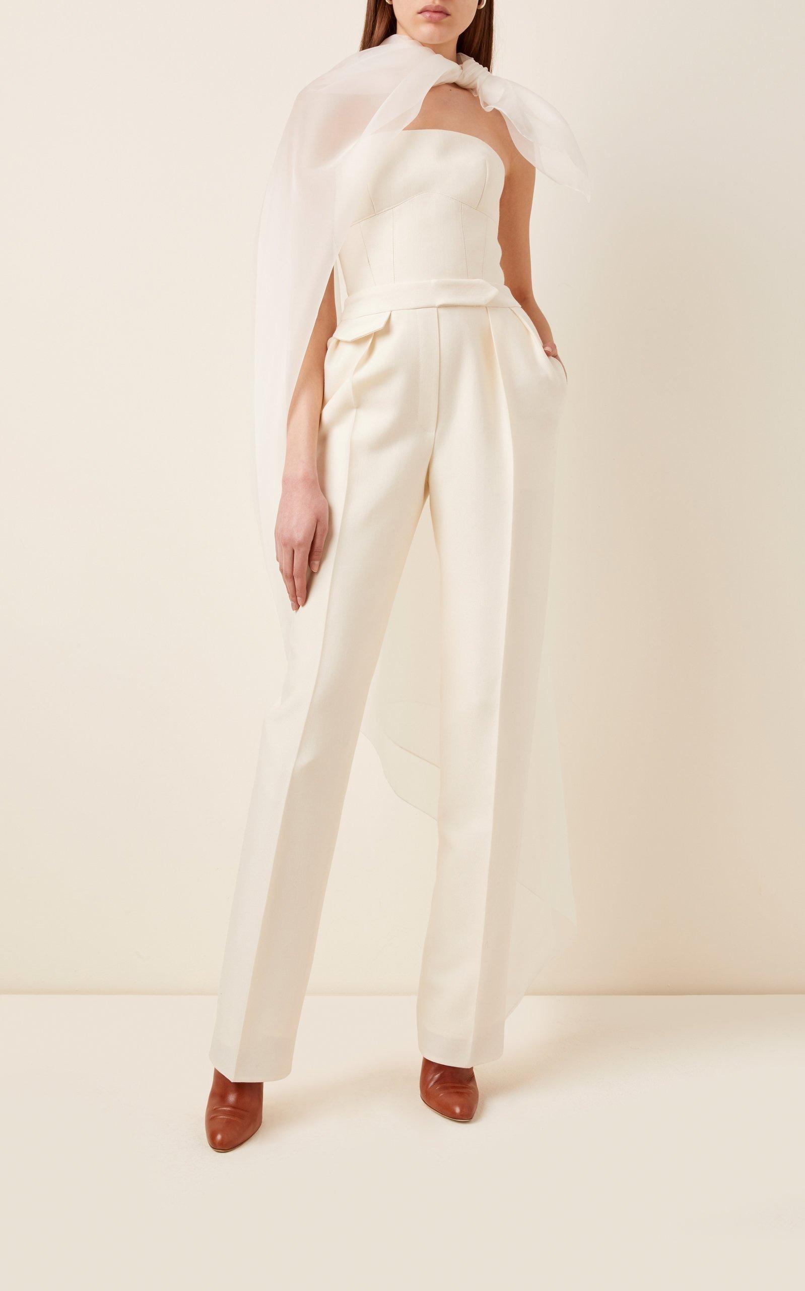 white strapless Brandon Maxwell wedding jumpsuit