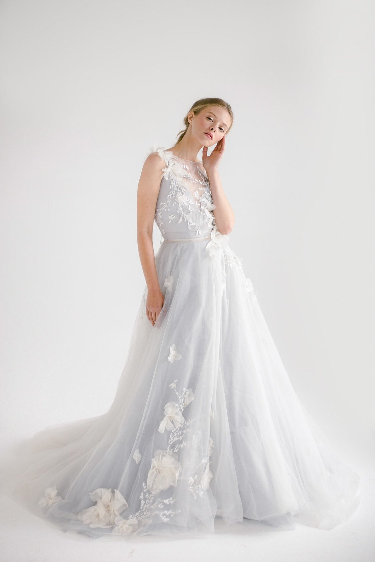 tulle floral online wedding dresses from Mywony Bridal on Etsy