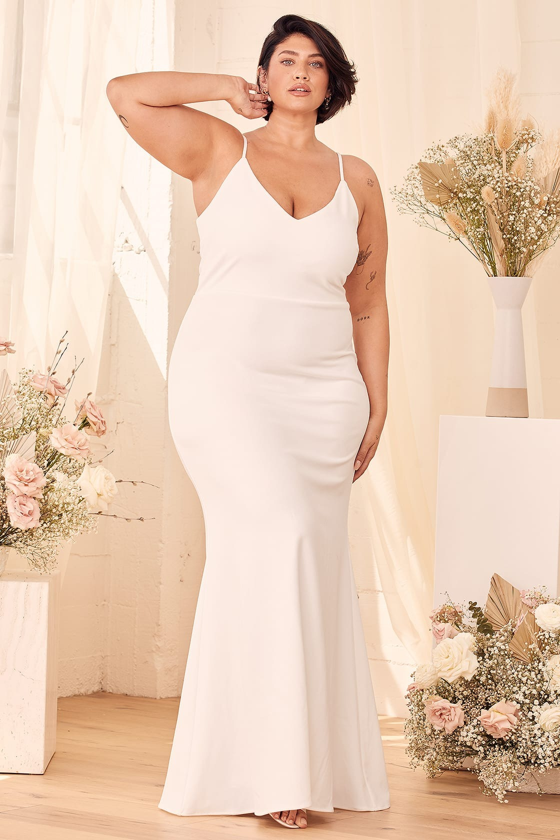 spaghetti strap fitted plus size online wedding dresses from Lulus