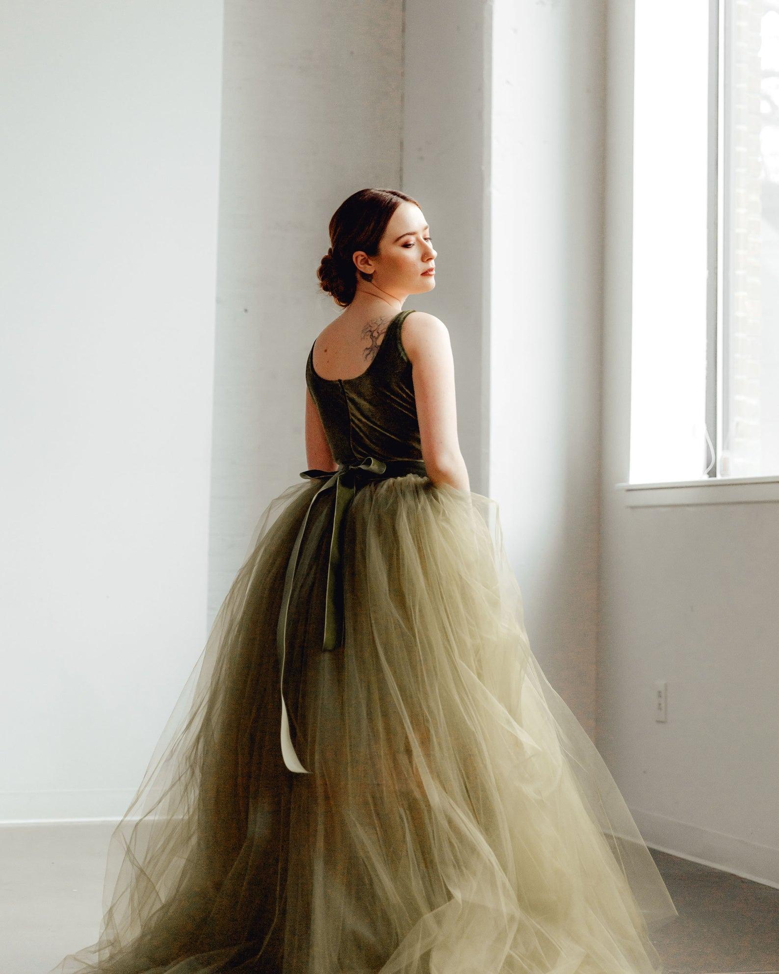 olive green tulle online wedding dress from Sweet Caroline Styles on Etsy