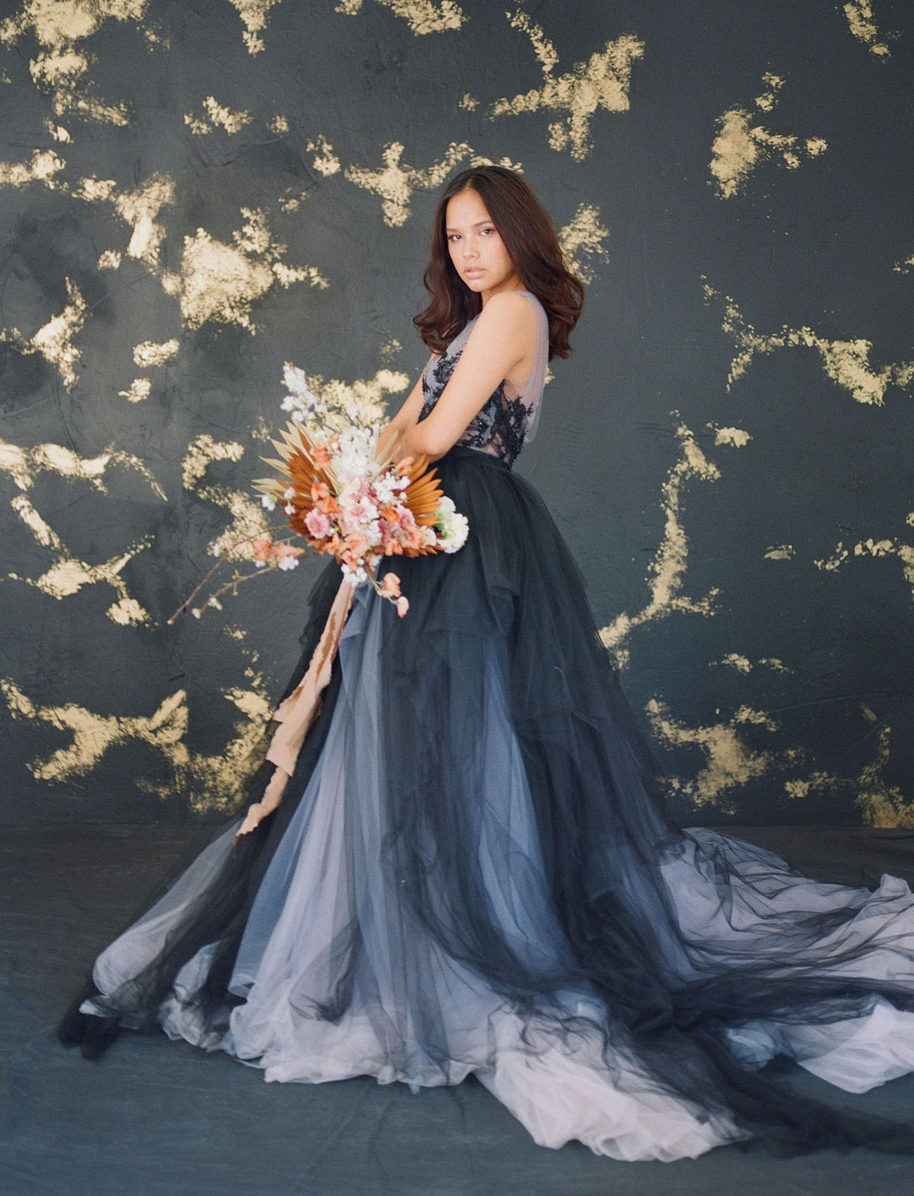 black and purple ballgown wedding dress