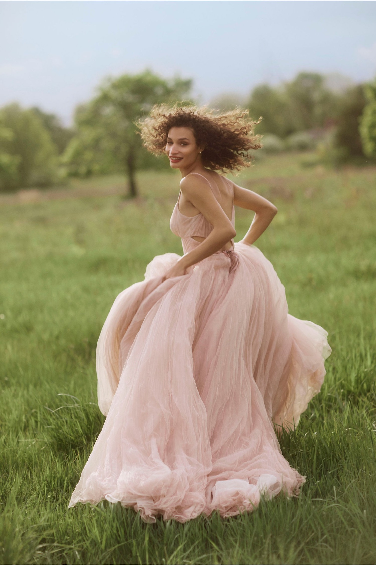 blush tulle Watters  dress sold online at BHLDN
