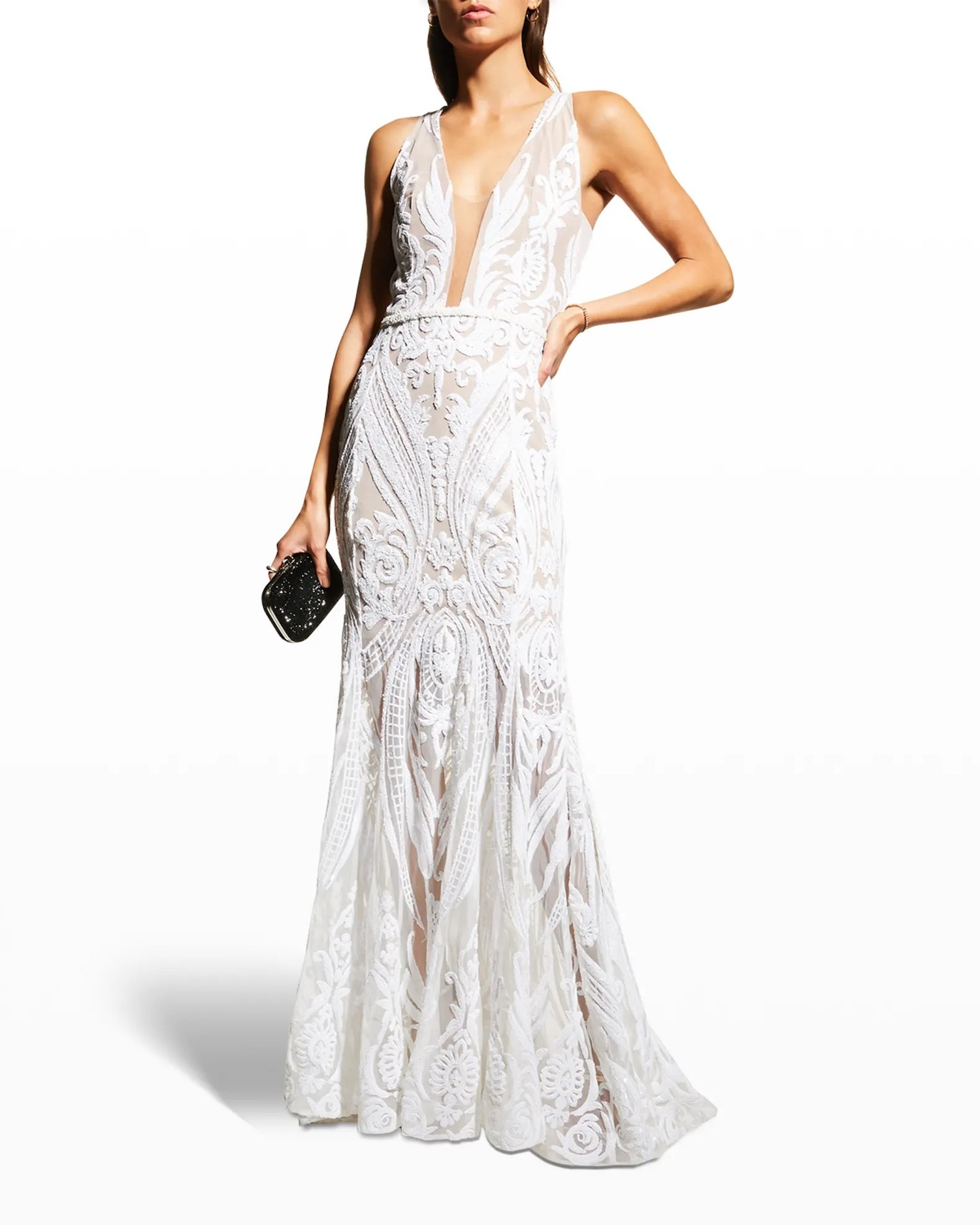 plunging neckline bohemian lace online wedding dress from Neiman Marcus