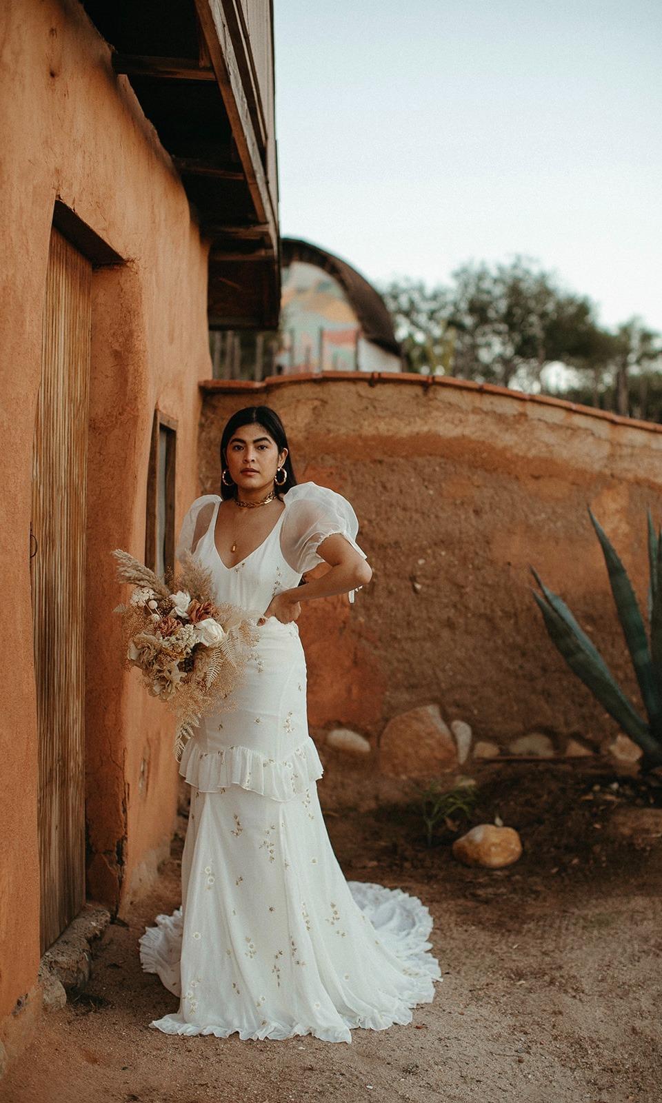 bohemian puff sleeve floral chiffon Daughters of Simone online wedding dress