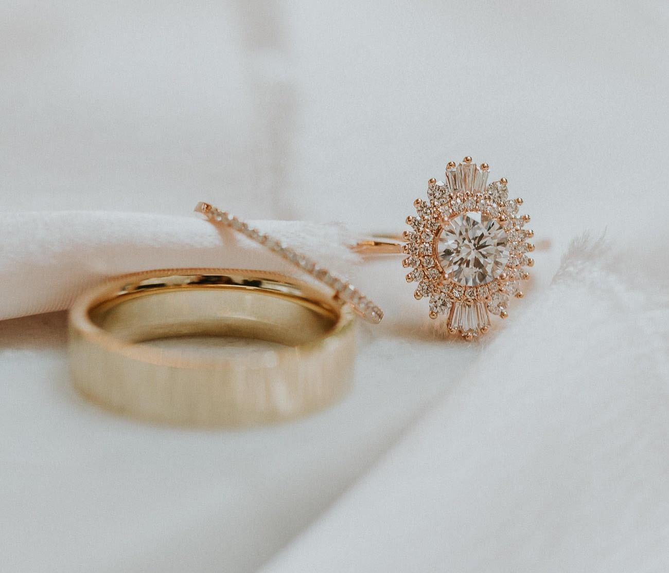 bohemian unique engagement ring with Art Deco sunburst style