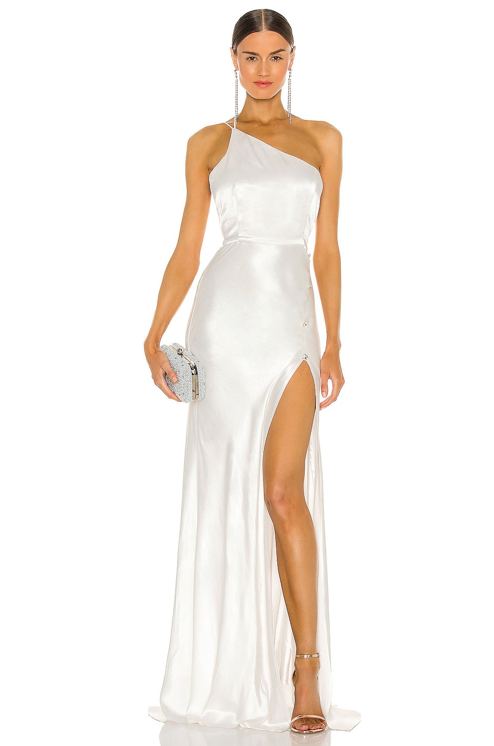 contemporary shiny one shoulder wedding dress online from Revolve