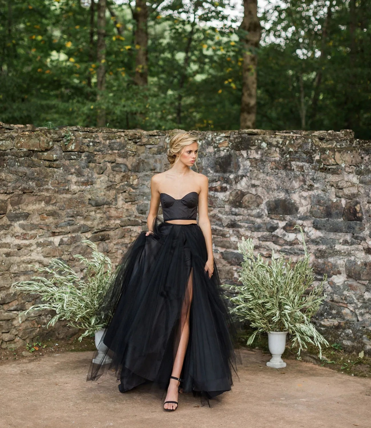 two piece corset black wedding dress with tulle skirt
