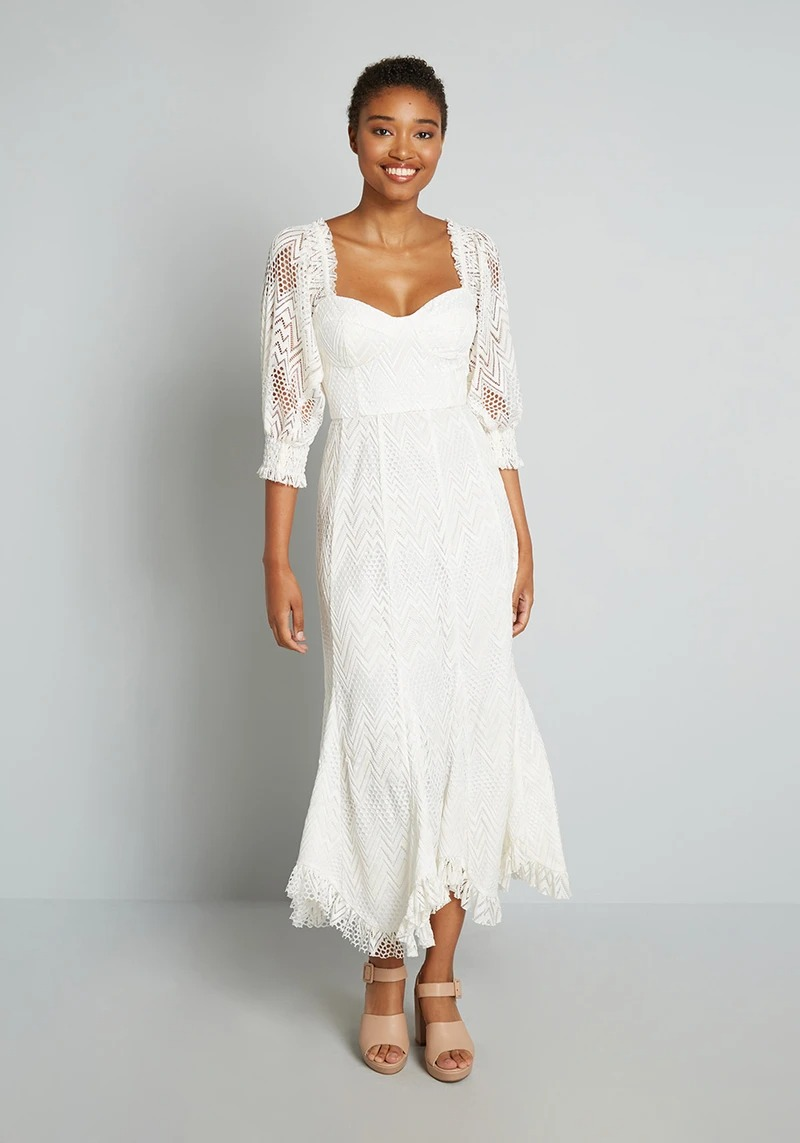 eccentric lace long sleeve wedding dresses online from ModCloth