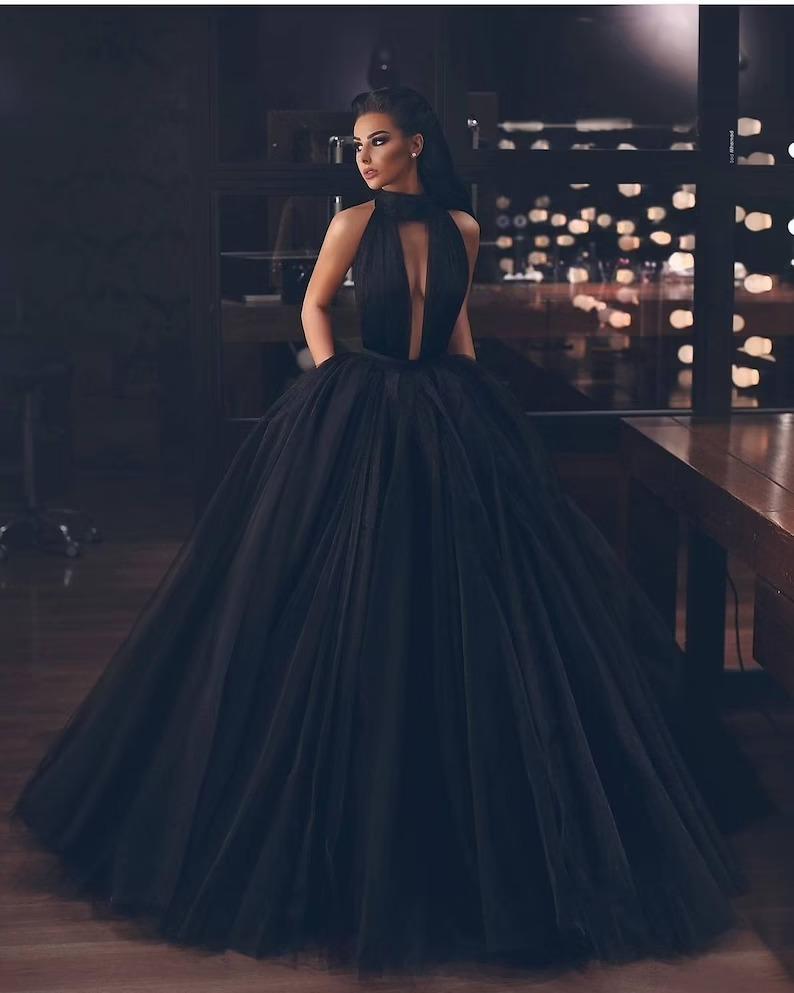 elegant tulle black ballgown wedding dress